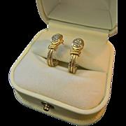 SALE Custom Ladies 14kt Gold Diamond Pave J Hoop Earrings