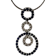 REDUCED Estate 14kt Gold Sapphire Diamond Eternity Necklace