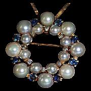 SALE Sapphire, Diamond & Cultured Pearl 14k Gold Eternity Brooch