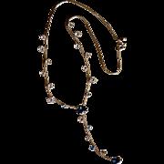 SALE 14K Gold Art Nouveau Style Blue Topaz Lariat Necklace