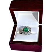 SALE Estate 3.64 Carat Natural Blue Green Emerald & Diamond 14K Gold Ring