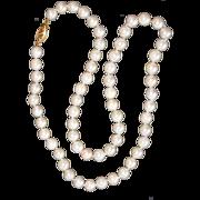 "SALE Vintage 18"" Cultured Pearl Necklace Strand 14K Clasp"