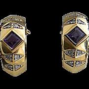 REDUCED Brazilian Amethyst Diamond 14kt Gold Hoop Earrings