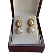 SALE 18K Gold Baroque and Mabe Cultured Freshwater Pearl Drop Earrings
