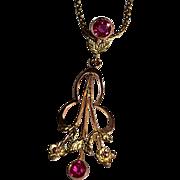 SALE Classic Art Nouveau 15K Gold Yellow Rose Ruby Pendant