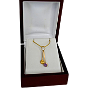 14K Gold Amethyst & Citrine Pendant Charm Necklace