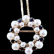 SALE Estate  Diamonds, Sapphires & Cultured Pearl 14k Gold Eternity Brooch / Pendant