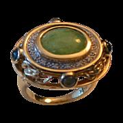 REDUCED Estate 14k Gold Jadeite, Diamond & Gemstone Ring