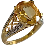 SALE Fancy 14K Gold 4 Carat Citrine & Diamond Pave Ring