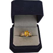 REDUCED Estate Fancy 2.84 Carats Yellow Sapphire & Diamond 14K Gold Ring