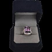 SALE Modernist 14Kt Amethyst & Diamond Pave Cocktail Ring