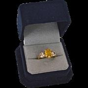 SALE Fancy 1.30 Carat Diamond &  Sapphire (2.84 cts)14K Gold Engagement Ring