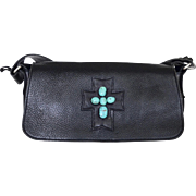 REDUCED Western Two Bar West Black Cowhide Tote With Turquoise Adornment