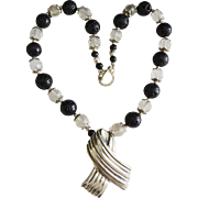 SALE Sterling Silver Mexico Pendant Necklace With Crystal / Black Lava Beads