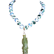 REDUCED Chinese Export Hand-Painted Dragon Jade Pendant Necklace