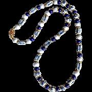 REDUCED Vintage Asian Blue White Porcelain Lapis Bead Necklace