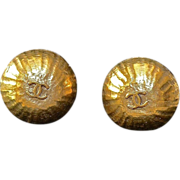 REDUCED CHANEL Hammered 14kt Gold Plate Earrings