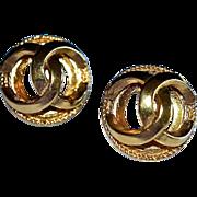 SALE Vintage Chanel Geometric Logo Dome Earrings