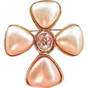 REDUCED Vintage Chanel Large Cross Brooch With Swarovski Crystal