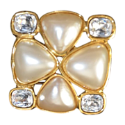 REDUCED Vintage Change Bold Quatrefoil Shaped Crystal & Faux Pearl Brooch