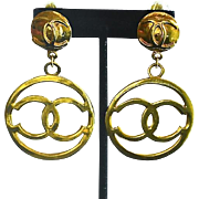 REDUCED Vintage CHANEL 12K Gold Plate Open CC Hoop Earrings