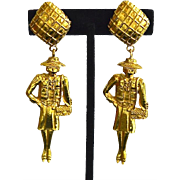 REDUCED Iconic CHANEL 12K Gold Plate Mademoiselle Dangle Earrings Extra Large