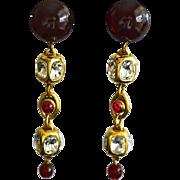 SALE Vintage CHANEL 12K Gold Plate Gripoix Glass Chandelier Earrings