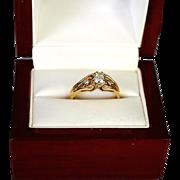 REDUCED Romantic Estate Diamond Wedding Ring Combination 14K Gold Heart Vine Setting