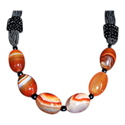 SALE Vibrant Carnelian Banded Agate Tribal Silk Cord Necklace
