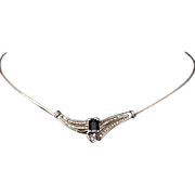 REDUCED Estate 14kt Gold Ladies 1.47 Carat Sapphire & Diamond Necklace Italy