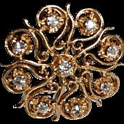 SALE Victorian Style 0.96 Carat Old Mine Cut Diamond 14kt Gold Pendant / Brooch