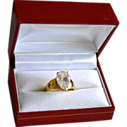 SALE Stunning 4 Ct CZ Sparkler 10k Gold Plate Sterling Ring
