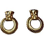 Givenchy 14K Gold Plate Door Knocker Earrings
