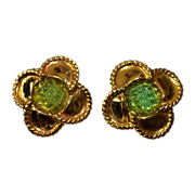 REDUCED Vintage Ivana Trump Quatrefoil GP Braided earrings