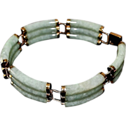 SALE Asian 14k Gold Triple Jadeite Celadon Bar Link Bracelet