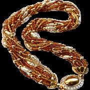 REDUCED Vintage Murano Amber Crystal Multi-Strand Torsade Necklace