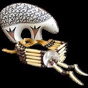 SALE Vintage Southwestern Ox Bone  Leather Necklace