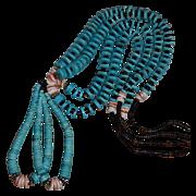 SALE Southwestern Kingman Turquoise & Heishi Double Jacias Necklace