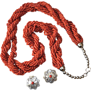 REDUCED Vintage Southwestern Torsade Trade Bead Necklace