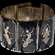 SALE Stunning Sterling Black Niello Panel Bracelet & Earrings