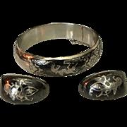SALE Elegant Asian Sterling Silver Niello Bangle Bracelet & Earrings
