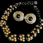 SALE Vintage Donna Karan 18K Gold Plate Onyx Necklace Earrings