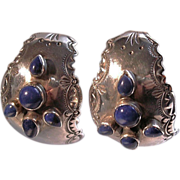 REDUCED Old Mexican Etched Lapis Scroll Hoop Earrings
