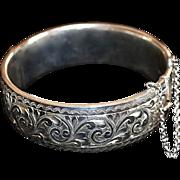 REDUCED Georg Jensen Sterling Silver Etched Floral Bracelet