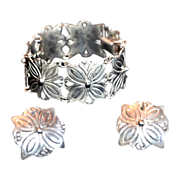 REDUCED Mexico Pre-Eagle Sterling Floral Panel Bracelet & Earrings