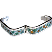 SALE Rare Mexican Sterling Silver Enamel Inlay Cuff Bracelet