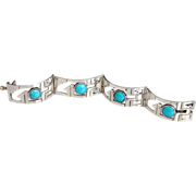 REDUCED Sterling Silver Mexico Cut Out Turquoise Cabochon Bracelet
