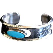 REDUCED Southwestern Sterling Silver Cuff Bracelet Center Natural Turquoise Oval Stone