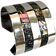 SALE Mexico Serling Wide Cuff Abalone Shell & Sterling Bracelet