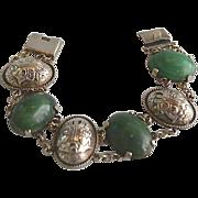 SALE Sterling Silver Mexican Jade Onyx Link Panel Bracelet